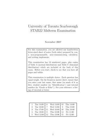 Exam - University of Toronto Scarborough