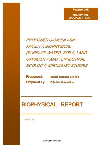 Appendix I - Specailist Study - Biophysical Impact ... - SAHRA