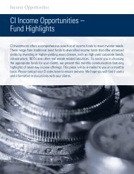 CI Income Opportunities – Fund Highlights - CI Investments