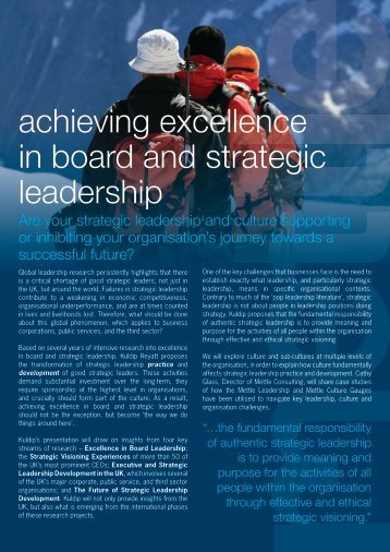 achieving excellence in board and strategic ... - Top-Consultant