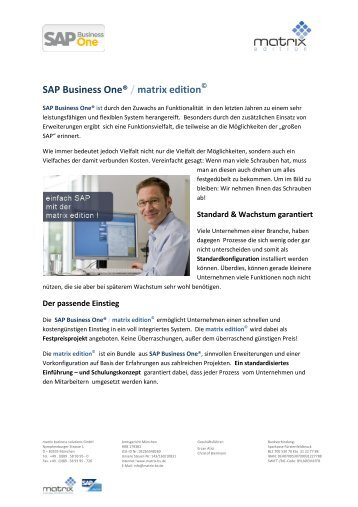SAP Business One® / matrix edition - Matrix Business Solutions