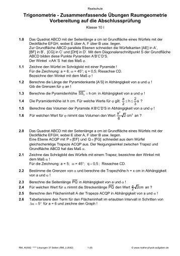 Trigonometrie - Winkelfunktionen sin, cos, tan - Mathe-Physik ...