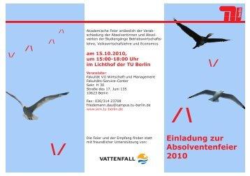 Einladung zur Absolventenfeier 2010 - Wirtschaft und Management ...