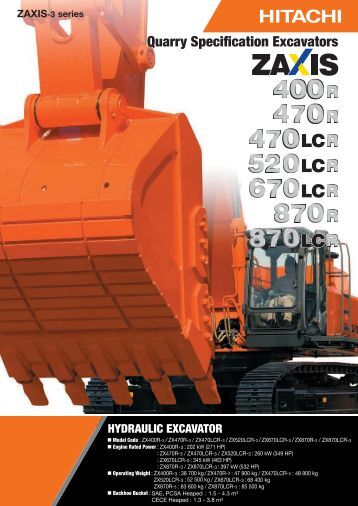 Quarry Specification Excavators - Hitachi Construction Machinery