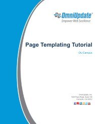 Page Templating Tutorial - OU Campus Support - OmniUpdate