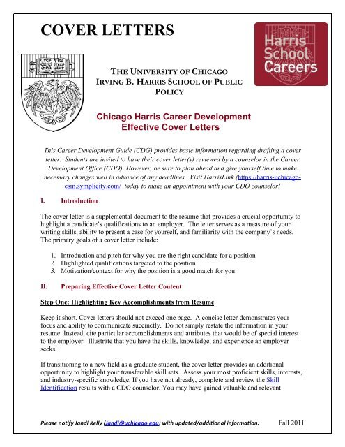 Effective Cover Letters - Harris School of Public Policy ...