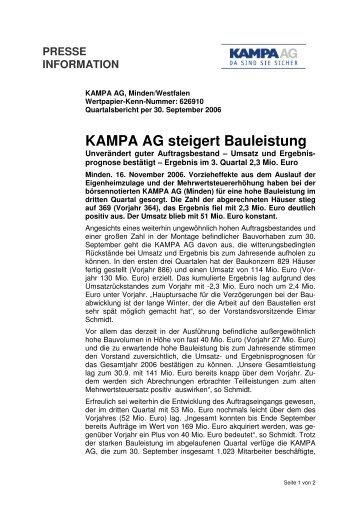 Pressemitteilung zum Bericht III. Quartal 2006 - KAMPA AG