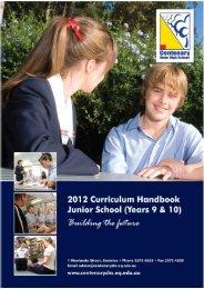 2012 Junior School Curriculum Years 9 & 10 - Centenary State High ...