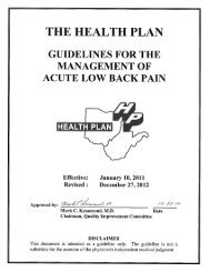 Guidelines for Acute Low Back Pain - The Health Plan
