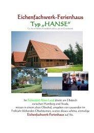 """Eichenfachwerk-Ferienhaus Typ """"HANSE"""" - Feriendorf Altes Land"""
