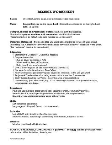 sample resume worksheet httpexampleresumecvorgsample resume ...