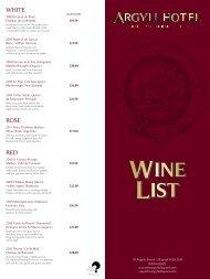 Wine List - Argyll Hotel