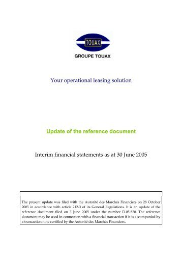 update of the reference document October, 28th 2005 - Touax