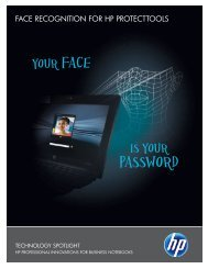 Face Recognition for HP ProtectTools - Hewlett Packard