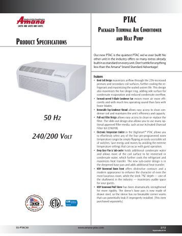 com 208 240 com 208 240 w product specifications amana ptac
