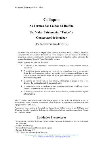 Programa - Sociedade de Geografia de Lisboa