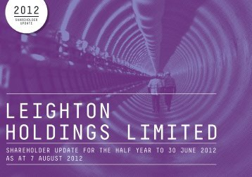 Leighton Shareholder Update for the Half Year to 30 June 2012