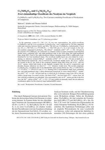 Zwei cäsiumhaltige Oxosilicate des Neodyms im Vergleich
