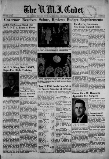 The Cadet. VMI Newspaper. September 23, 1957 - New Page 1 ...