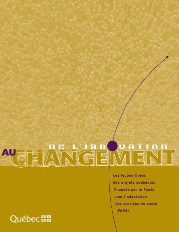 De l'innovation au changement - Gouvernement du Québec