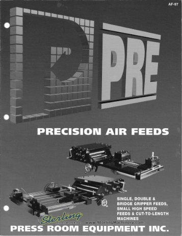 Pressroom Equipment Air Feeds Brochure - Sterling Machinery