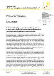 Pressemeldung - Früh- und Risikogeborene Kinder Rheinland-Pfalz