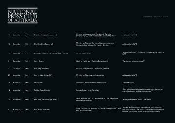 Speakers List 2000 - 2009 - National Press Club
