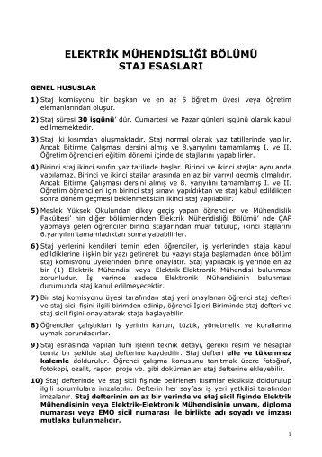 Genel Hususlar - Kocaeli Üniversitesi-Elektrik Mühendisliği Bölümü