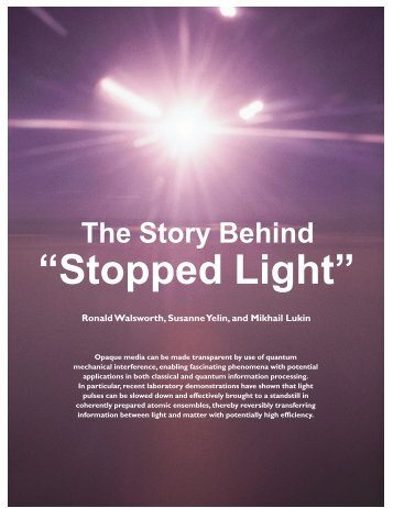 The Story Behind Stopped Light - Walsworth Group - Harvard ...