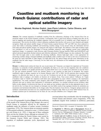 Coastline and mudbank monitoring in French Guiana ... - LTHE