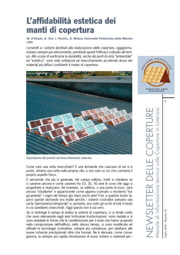 L'affidabilità estetica dei manti di copertura - Coperture in Laterizio