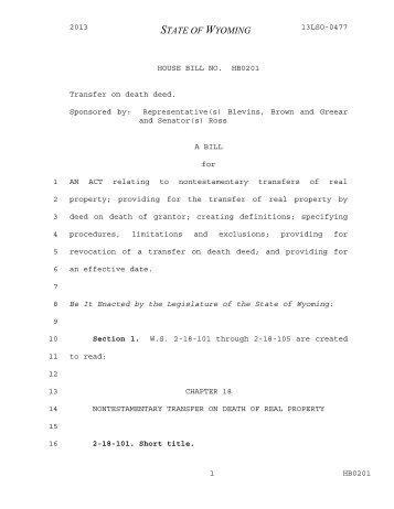 Transfer on Death Deeds - Senate Bill 124
