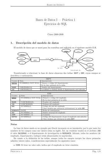 Bases de Datos I — Práctica 1 Ejercicios de SQL - QueGrande