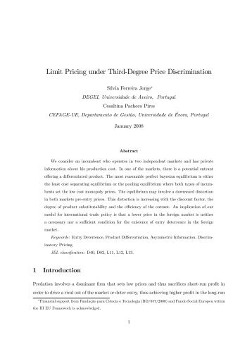 "Limit Pricing under Third""Degree Price Discrimination - CEFAGE"