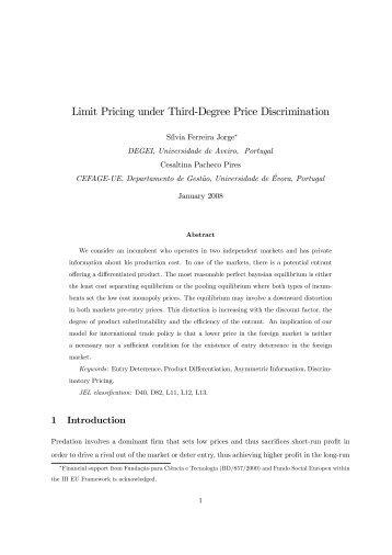 """Limit Pricing under Third""""Degree Price Discrimination - CEFAGE"""