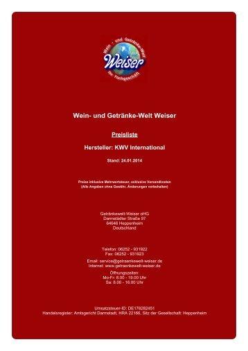 Preisliste für Hersteller: KWV International - und Getränke-Welt Weiser