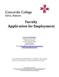 Application Faculty - Concordia College
