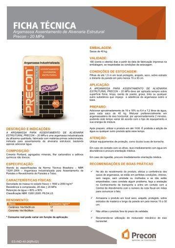 ES-IND-40-26 (Ficha Tecnica - Argamassa Assentamento ... - Precon