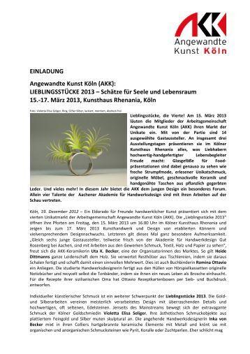 Weitere Informationen - Angewandte Kunst Köln