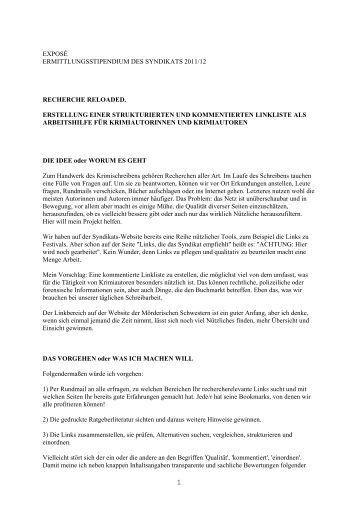 exposé ermittlungsstipendium des syndikats 2011/12 ... - Das Syndikat