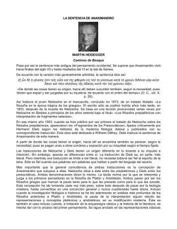 LA SENTENCIA DE ANAXIMANDRO MARTIN HEIDEGGER ...