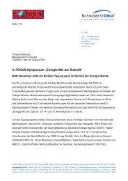 """3. FOCUS-Symposium """"Energie-Mix der Zukunft"""""""
