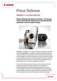 Download het volledige persbericht [PDF, 147 KB] - Canon