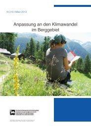 Anpassung an den Klimawandel im Berggebiet - SAB - Berggebiete.ch