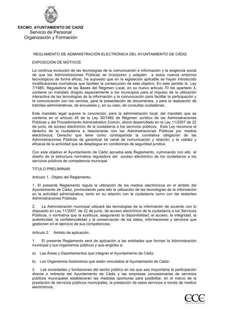 Reglamento Administracion electronica - Ayuntamiento de Cádiz