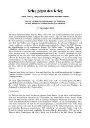 Krieg gegen den Krieg Jesus, Tolstoj, Bertha von Suttner und Pierre ...