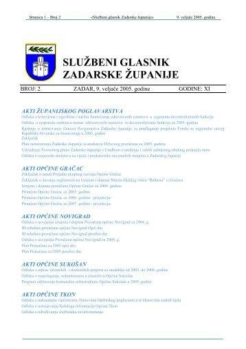 SLUŽBENI GLASNIK ZADARSKE ŽUPANIJE - Zadarska županija