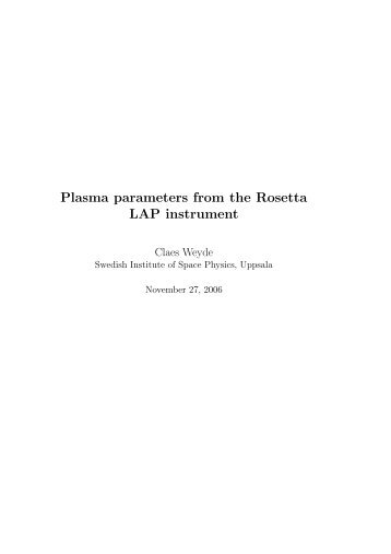 Plasma parameters from the Rosetta LAP instrument - Space.irfu.se