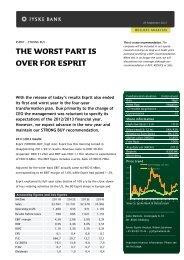 The worst part is over for Esprit - Jyske Bank