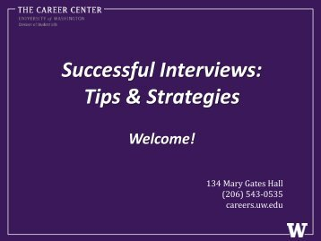 Successful Interviews: Tips & Strategies - The Career Center of the ...